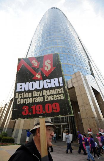 "ACORN & SEIU protest ""Corporate Excess"" in March of 2009"